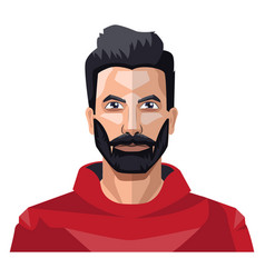 guy with a full beard in red shirt on white vector image