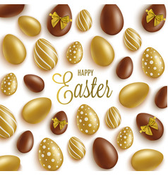 happy easter greeting card with gold and brown vector image