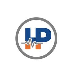 health emblem logo with letter hp vector image