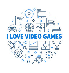 i love video games round concept linear vector image