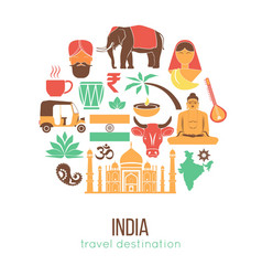 India travel famous landmarks and tourist culture vector