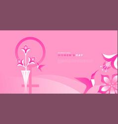 international womens day card pink flower bird vector image