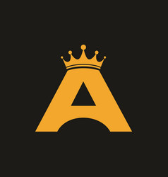 letter a initial gold with crown logo template vector image