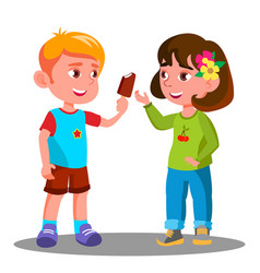 little boy treats an ice cream to a little girl vector image