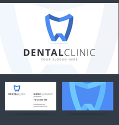 logo and business card template for dental clinic vector image