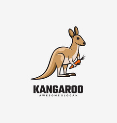 Logo kangaroo simple mascot style vector