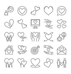 love outline icons set collection heart vector image