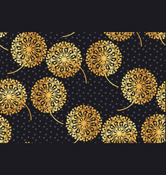 luxury gold geometric dandelion flowers on black vector image