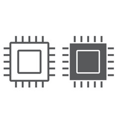 microchip line and glyph icon electronic vector image
