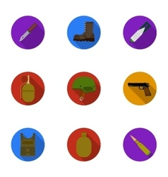 Military and army set icons in flat style Big vector