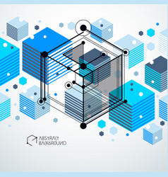 modern abstract cubic lattice lines blue vector image