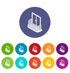 modern balcony icons set color vector image