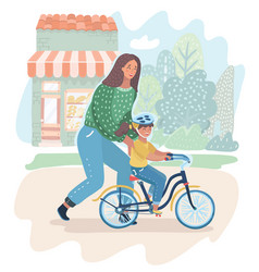 mom teaching her daughter to ride a bike outdoor vector image
