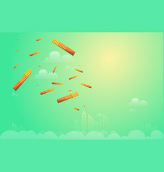 money falling from above sky to city vector image