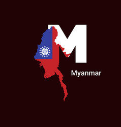 Myanmar initial letter country with map and flag vector