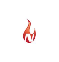 N letter flame logo vector