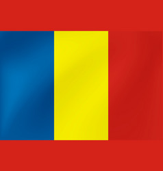 national flag romania with wavy texture vector image