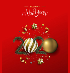 New year 2020 card red 3d luxury holiday ornament vector