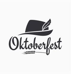 oktoberfest hat logo beer on white background vector image