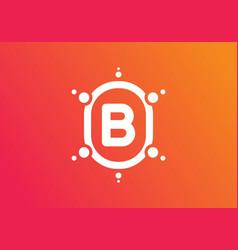 Orange pink gradient color b initial letter vector
