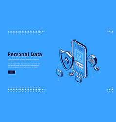 personal data isometric landing page online access vector image