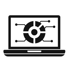 pie graph laptop screen icon simple style vector image