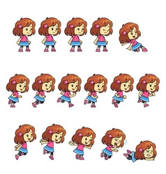 Pinky Girl Game Sprites vector