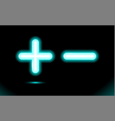 Plus and minus blue glowing neon ui ux icon vector