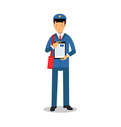 Postman in blue uniform with red bag holding vector