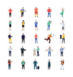 Professional persons flat icons pack vector