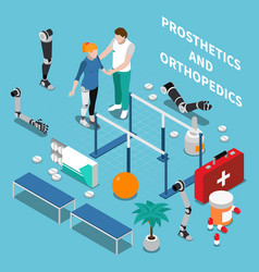 prosthetics and orthopedics isometric composition vector image