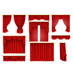 red curtains opera cinema theater stage drapery vector image