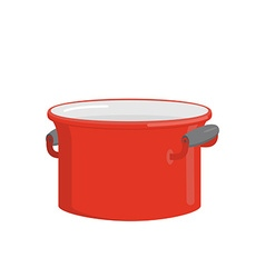 Red pot tableware for cooking food kitchenware vector