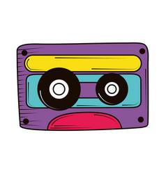 Retro cassette doodle vector
