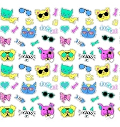 Seamless pattern with cats and dogs Pop art Funy vector image
