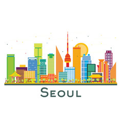 seoul south korea city skyline with color vector image