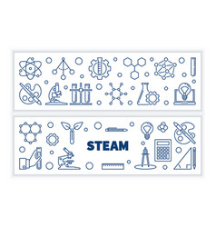 set 2 steam concept outline horizontal vector image