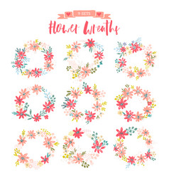 set of beautiful wreaths vector image