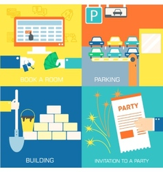 set of flat communication concepts vector image