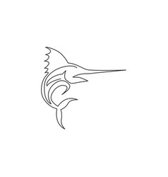 single continuous line drawing large marlin vector image