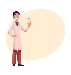 Smiling male dentist doctor in lab coat holding vector image