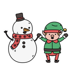 Snowman and elf holding hands decoration merry vector