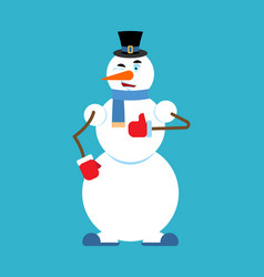 Snowman thumbs up winks emoji new year and vector