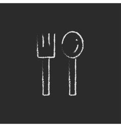 Spoon and fork icon drawn in chalk vector image