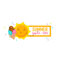 summer sale banner with cute sun eating ice cream vector image