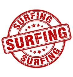 Surfing red grunge round vintage rubber stamp vector