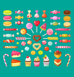 sweet candy tasty dessert food lollipops candies vector image