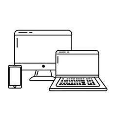 Technology devices online connected black and vector