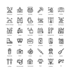Tourism glyph icons pack filled with hiking campi vector