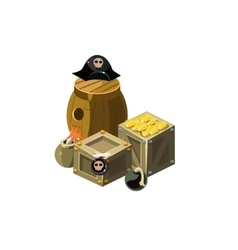 Treasure And Bombs Toy Icon vector